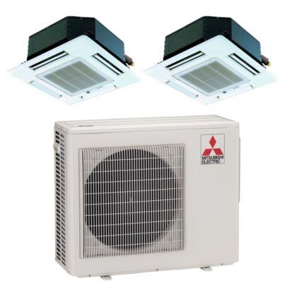 Mitsubishi MXZ2B20NA12018- 18,000 BTU Dual-Zone Ceiling Cassette Mini Split Air Conditioner Heat Pump 208-230V (9-9)