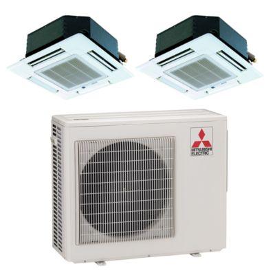 Mitsubishi MXZ2B20NA12018  20,000 BTU Dual Zone Ceiling Cassette Ductless  Mini Split Air Conditioner Heat Pump 208 230V (9 9)
