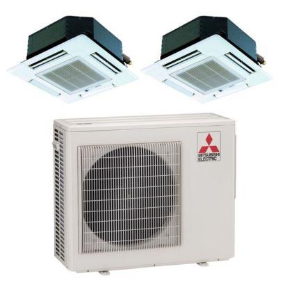 Mitsubishi MXZ2B20NA12019-18,000 BTU Dual-Zone Ceiling Cassette Mini Split Air Conditioner Heat Pump 208-230V (9-12)