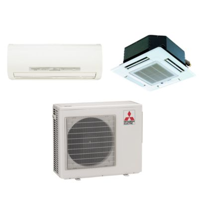 Mitsubishi 18,000 BTU I-SEE Dual-Zone Wall Mount & Ceiling Cassette Mini Split Air Conditioner Heat Pump 208-230V (9-9)