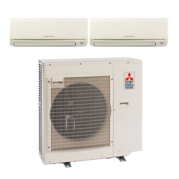 Mitsubishi MXZ3B24NA12007 -22,000 BTU Dual-Zone Wall Mount Mini Split Air Conditioner Heat Pump 208-230V (12-12)