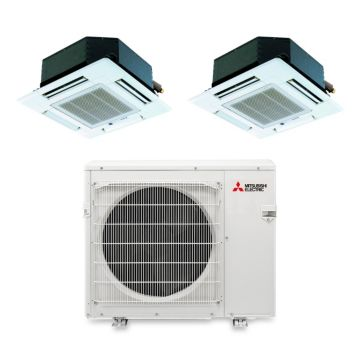 Mitsubishi MXZ3B24NA12101 - 23,600 BTU Dual-Zone Ceiling Cassette Mini Split Air Conditioner Heat Pump 208-230V (12-12)
