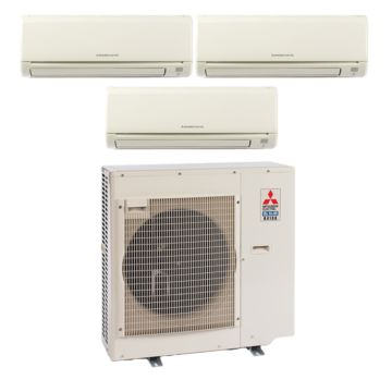 Mitsubishi MXZ3B24NA13007 - 22,000 BTU 17.5 SEER Tri-Zone Wall Mounted Mini Split Air Conditioner with Heat Pump 220V (9-9-9)