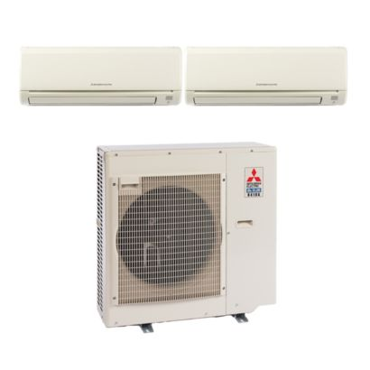 Mitsubishi MXZ3B30NA12007 -28,400 BTU Dual-Zone Wall Mount Mini Split Air Conditioner Heat Pump 208-230V (12-12)