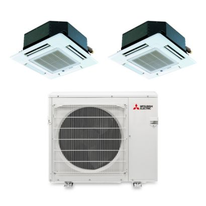 Mitsubishi MXZ3B30NA12103 - 28,400 BTU Dual-Zone Ceiling Cassette Mini Split Air Conditioner Heat Pump 208-230V (15-15)