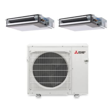 Mitsubishi MXZ3B30NA12203 - 27,400 BTU Dual-Zone Concealed Duct Mini Split Air Conditioner with Heat Pump 220V (15-15)