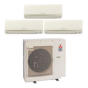 Mitsubishi MXZ3B30NA13003- 28,400 BTU 17.5 SEER Tri-Zone Wall Mounted Mini Split Air Conditioner with Heat Pump 220V (6-6-12)