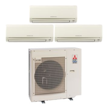 Mitsubishi MXZ3B30NA13013-28,400 BTU 17.5 SEER Tri-Zone Wall Mounted Mini Split Air Conditioner with Heat Pump 220V (6-12-15)
