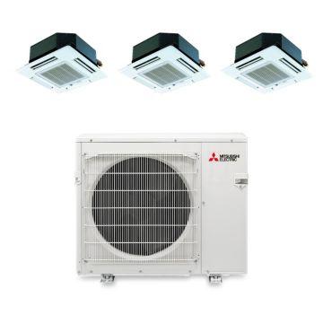 Mitsubishi MXZ3B30NA13101 - 28,400 BTU Tri-Zone Ceiling Cassette Mini Split Air Conditioner Heat Pump 208-230V (9-9-12)