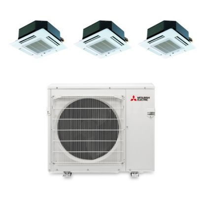 Mitsubishi MXZ3B30NA13101 - 28,400 BTU Tri-Zone Ceiling Cassette Mini Split Air Conditioner Heat Pump 208-230V (9-9-12)