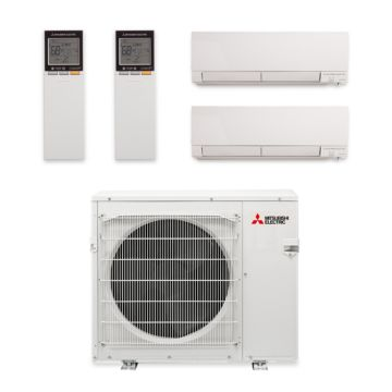 Mitsubishi MXZ-3C24NAHZ-2WF-04 - 24,000 BTU Dual-Zone Hyper Heat Wall Mount Mini Split Air Conditioner 208-230V (12-15)
