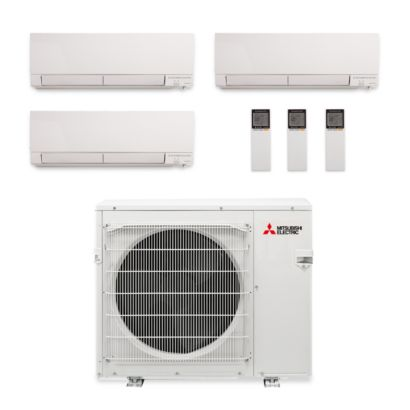 Mitsubishi MXZ-3C24NAHZ-3WF-00 - 24,000 BTU Hyper Heat Tri-Zone Wall Mount Mini Split Air Conditioner 208-230V (9-9-9)