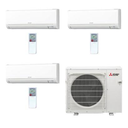 Mitsubishi MXZ3C30NA-3WS-26 - 30,000 BTU MR SLIM Tri-Zone Ductless Mini Split Air Conditioner Heat Pump 208-230V (9-12-15)
