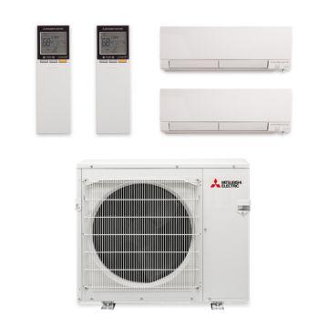 Mitsubishi MXZ-3C30NAHZ-2WF-03 - 30,000 BTU Dual-Zone Hyper Heat Wall Mount Mini Split Air Conditioner 208-230V (15-15)