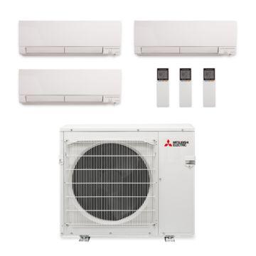 Mitsubishi MXZ-3C30NAHZ-3WF-03 - 30,000 BTU Tri-Zone Hyper Heat Wall Mounted Mini Split Air Conditioner 220V (9-12-12)