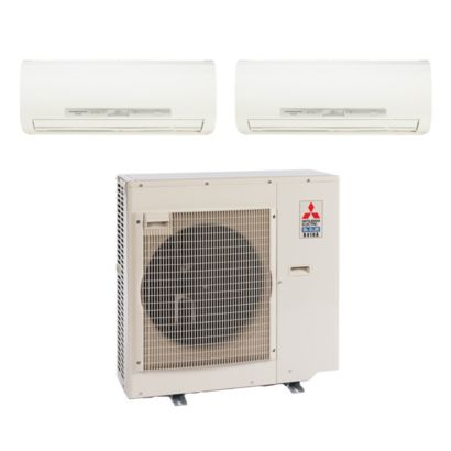 Mitsubishi 35,400 BTU I-SEE Dual-Zone Wall Mount Mini Split Air Conditioner Heat Pump 208-230V (9-12)
