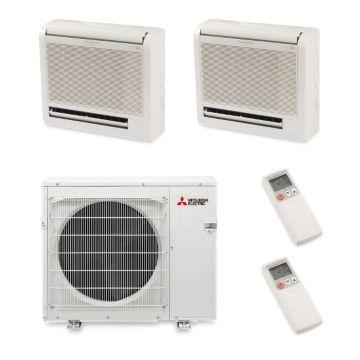 Mitsubishi MXZ4B36NA12303 - 35,400 BTU 18 SEER Dual-Zone Floor Mounted Mini Split Air Conditioner with Heat Pump 220V (18-18)
