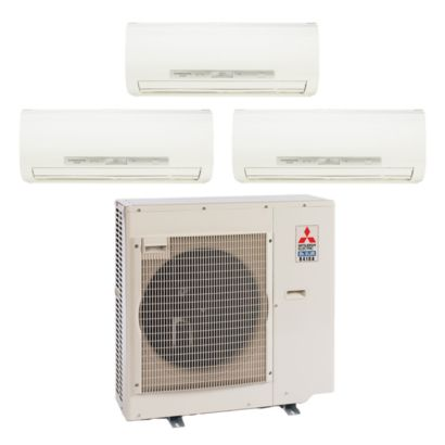 Mitsubishi 35,400 BTU I-SEE I-SEE Tri-Zone Wall Mount Mini Split Air Conditioner Heat Pump 208-230V (9-9-12)