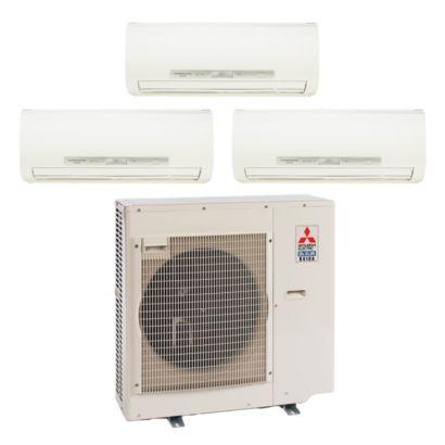 Mitsubishi 35,400 BTU I-SEE Tri-Zone Wall Mount Mini Split Air Conditioner Heat Pump 208-230V (9-12-12)