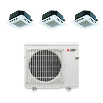 Mitsubishi MXZ4B36NA13103 - 35,400 BTU Tri-Zone Ceiling Cassette Mini Split Air Conditioner Heat Pump 208-230V (9-12-12)