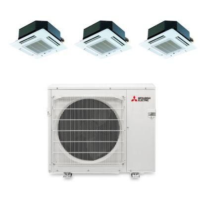 Mitsubishi MXZ4B36NA13103 - 35,400 BTU Tri-Zone Ceiling Cassette Mini Split Air Conditioner Heat Pump 208-230V (9-12-12)