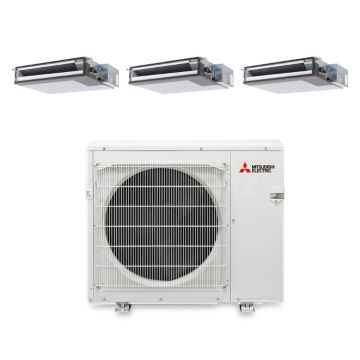 Mitsubishi MXZ4B36NA13204-34,400 BTU 15 SEER Tri-Zone Concealed Duct Mini Split Air Conditioner with Heat Pump 220V (9-12-12)