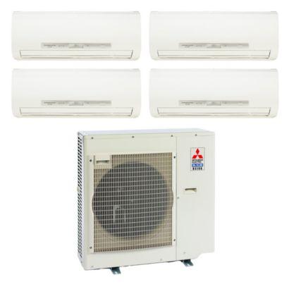 Mitsubishi 35,400 BTU I-SEE Quad-Zone Wall Mount Mini Split Air Conditioner Heat Pump 208-230V (9-9-9-12)