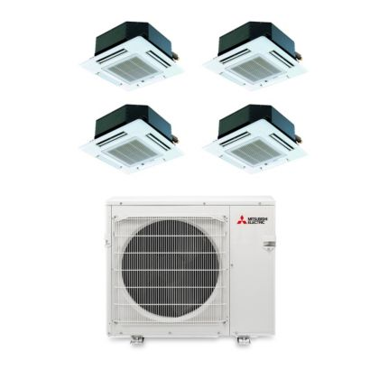 Mitsubishi MXZ4B36NA14100 - 35,400 BTU Quad-Zone Ceiling Cassette Mini Split Air Conditioner Heat Pump 208-230V (9-9-9-9)