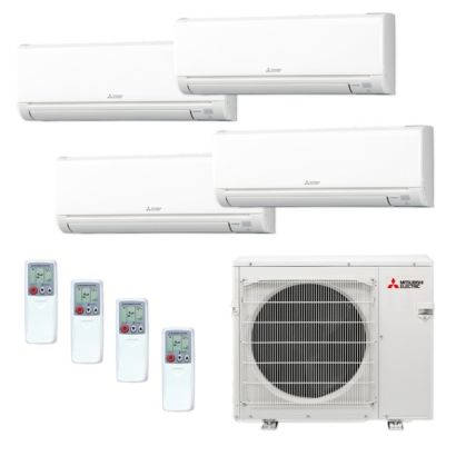 Mitsubishi MXZ4C36NA-4WS-15 - 36,000 BTU MR SLIM Quad-Zone Ductless Mini Split Air Conditioner Heat Pump 208-230V (6-6-15-15)