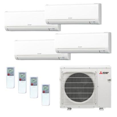 Mitsubishi MXZ4C36NA-4WS-24 - 36,000 BTU MR SLIM Quad-Zone Ductless Mini Split Air Conditioner Heat Pump 208-230V (6-9-12-12)
