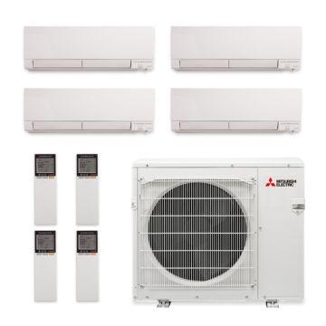 Mitsubishi MXZ-4C36NAHZ-4WF-00 - 36,000 BTU Quad-Zone Hyper Heat Wall Mount Mini Split Air Conditioner 208-230V (9-9-9-9)