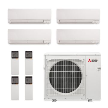 Mitsubishi MXZ-4C36NAHZ-4WF-01 - 36,000 BTU Quad-Zone Hyper Heat Wall Mount Mini Split Air Conditioner 208-230V (9-9-9-12)