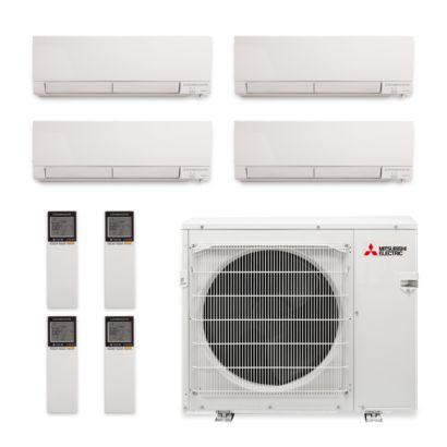 Mitsubishi MXZ-4C36NAHZ-4WF-02 - 36,000 BTU Hyper Heat Quad-Zone Wall Mount Mini Split Air Conditioner 208-230V (9-9-9-15)