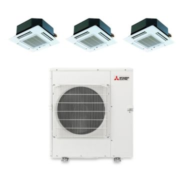 Mitsubishi MXZ5B42NA3107 - 40,800 BTU Tri-Zone Ceiling Cassette Mini Split Air Conditioner Heat Pump 208-230V (12-12-15)