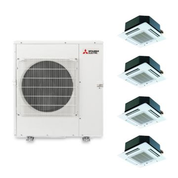 Mitsubishi MXZ5B42NA4102 - 40,800 BTU Quad-Zone Ceiling Cassette Mini Split Air Conditioner Heat Pump 208-230V (9-9-9-15)
