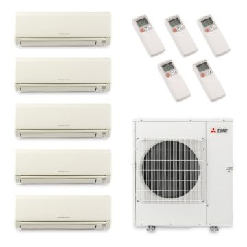 Mitsubishi MXZ5B42NA5003 - 40,800 BTU Penta-Zone Wall Mount Mini Split Air Conditioner Heat Pump 208-230V (6-6-6-6-15)