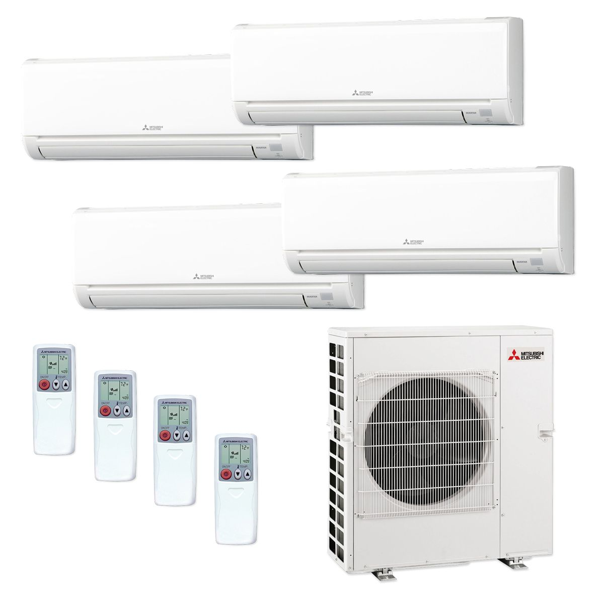 Mitsubishi Mxz5c42na 4ws 33 42 000 Btu Mr Slim Quad Zone Ductless Mini Split Air Conditioner Heat Pump 208 230v 6 12 18