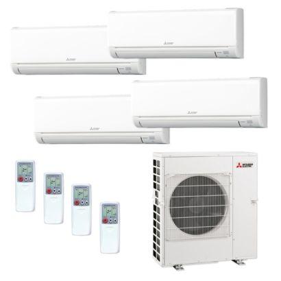 Mitsubishi MXZ5C42NA-4WS-37 - 42,000 BTU MR SLIM Quad-Zone Ductless Mini Split Air Conditioner Heat Pump 208-230V (9-9-9-9)