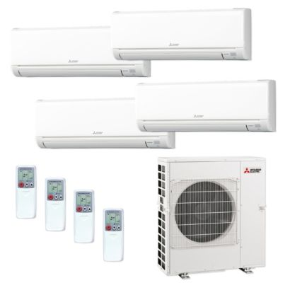 Mitsubishi MXZ5C42NA-4WS-38 - 42,000 BTU MR SLIM Quad-Zone Ductless Mini Split Air Conditioner Heat Pump 208-230V (9-9-9-12)
