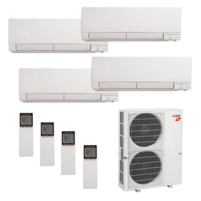 Mitsubishi MXZ-5C42NAHZ-4WF-07 - 42,000 BTU Quad-Zone Hyper Heat Wall Mount Mini Split Air Conditioner 208-230V (9-12-12-15)