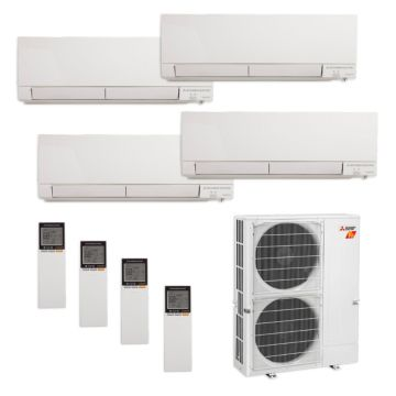 Mitsubishi MXZ-5C42NAHZ-4WF-10 - 42,000 BTU Quad-Zone Hyper Heat Wall Mount Mini Split Air Conditioner 208-230V (9-9-12-18)