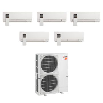 Mitsubishi MXZ-5C42NAHZ-5WF-01 - 42,000 BTU Penta-Zone Hyper Heat Wall Mounted Mini Split Air Conditioner 220V (9-9-9-9-12)