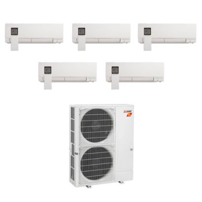 Mitsubishi MXZ-5C42NAHZ-5WF-01 - 42,000 BTU Penta-Zone Hyper Heat Wall Mount Mini Split Air Conditioner 208-230V (9-9-9-9-12)