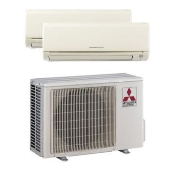 Mitsubishi MXZ2B20NA12004 - 18,000 BTU MR SLIM Dual-Zone Wall Mounted Mini Split Air Conditioner with Heat Pump 220V (9-9)