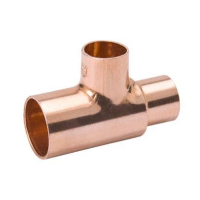 """Streamline W 04044 - 7/8"""" x 5/8"""" x 1/2"""" OD Reducing Tee, Copper Fitting"""