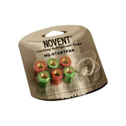 """Novent® 86668 - 1/4"""" Starter Pack with 3-R22 Green Caps, 3-R410 Pink Caps and 1 Multi-Key"""