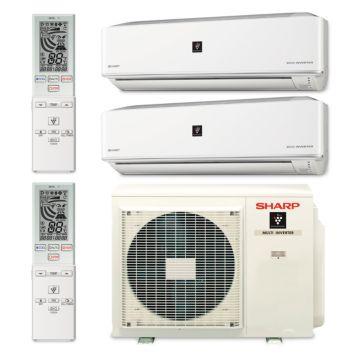 Sharp A-X2M20RU-2WF-00 - 20,000 BTU Dual-Zone Wall Mount Mini Split Air Conditioner Heat Pump 208-230V (9-9)