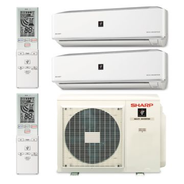 Sharp A-X2M20RU-2WF-02 - 20,000 BTU Dual-Zone Wall Mount Mini Split Air Conditioner Heat Pump 208-230V (12-12)