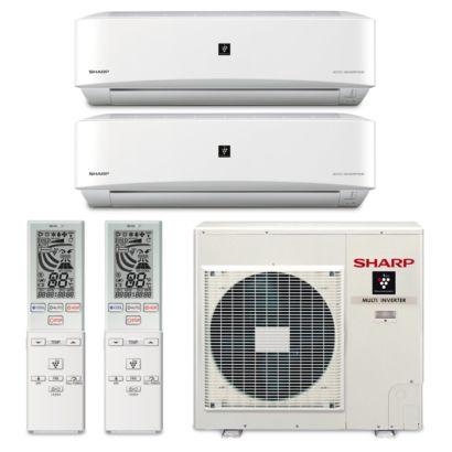 Sharp A-X4M30PU-2WF-01 - 30,000 BTU Dual-Zone Wall Mount Ductless Mini Split Air Conditioner Heat Pump 208-230V (18-18)
