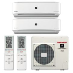Sharp A-X4M30PU-2WF-01 - 30,000 BTU Dual-Zone Wall Mounted Mini Split Air Conditioner with Heat Pump 220V (18-18)